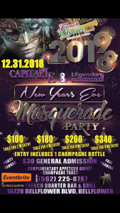 New Years Eve, Masquerade Party 2019 @ French Quarter Bar & Grill