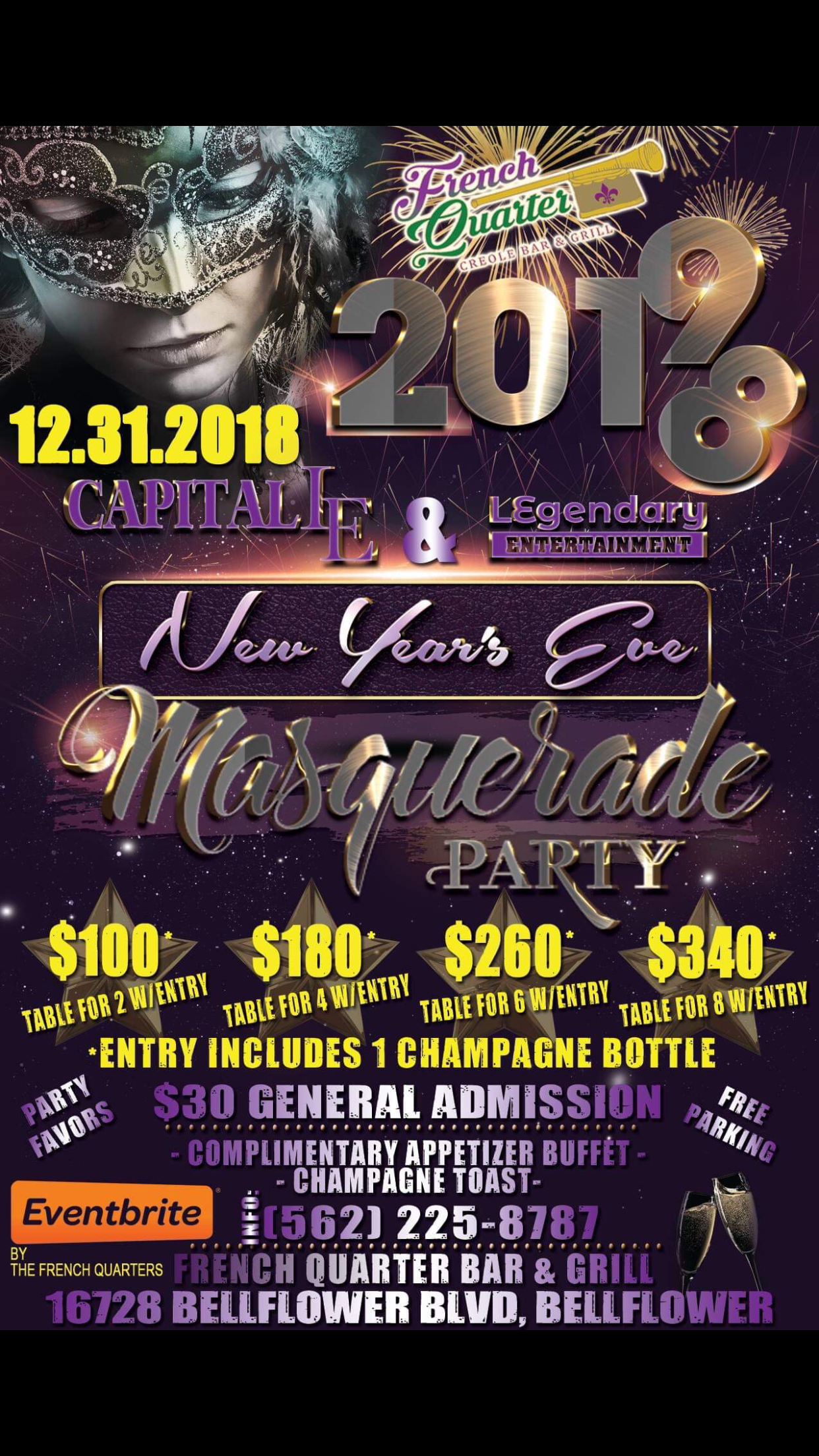 new year's masquerade party 2018-19