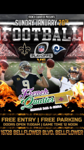 Saints-Rams Gameday Jan. 20 at French Quarter @ French Quarter Creole Bar and Grill