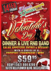 Valentine's Day Dinner for Two @ French Quarter Bar & Grill