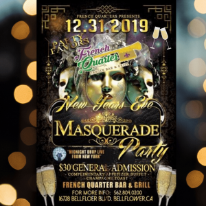 New Year's Eve Masquerade Party @ French Quarter Bar & Grill